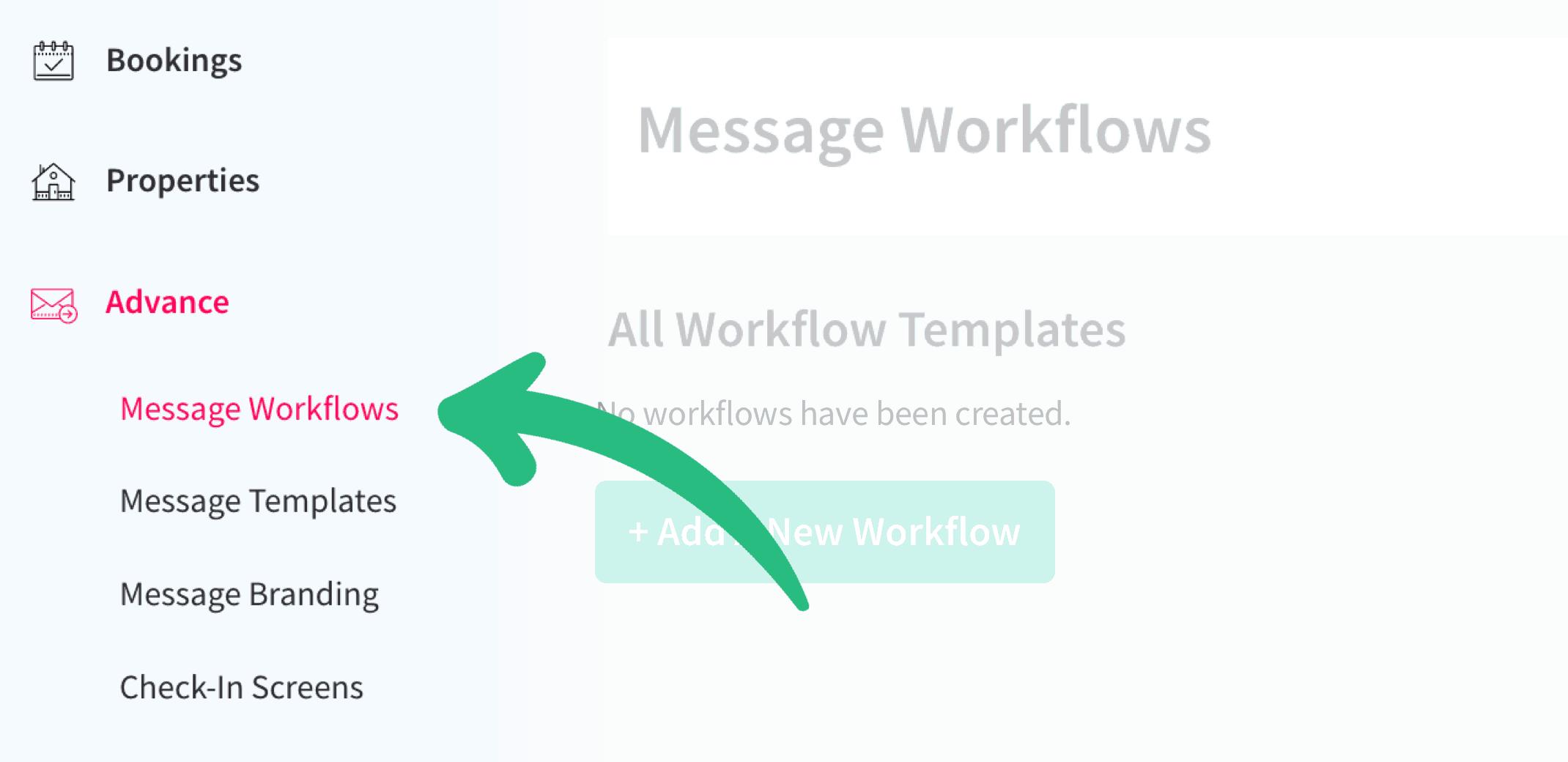 Workflow Messages dashboard menu item