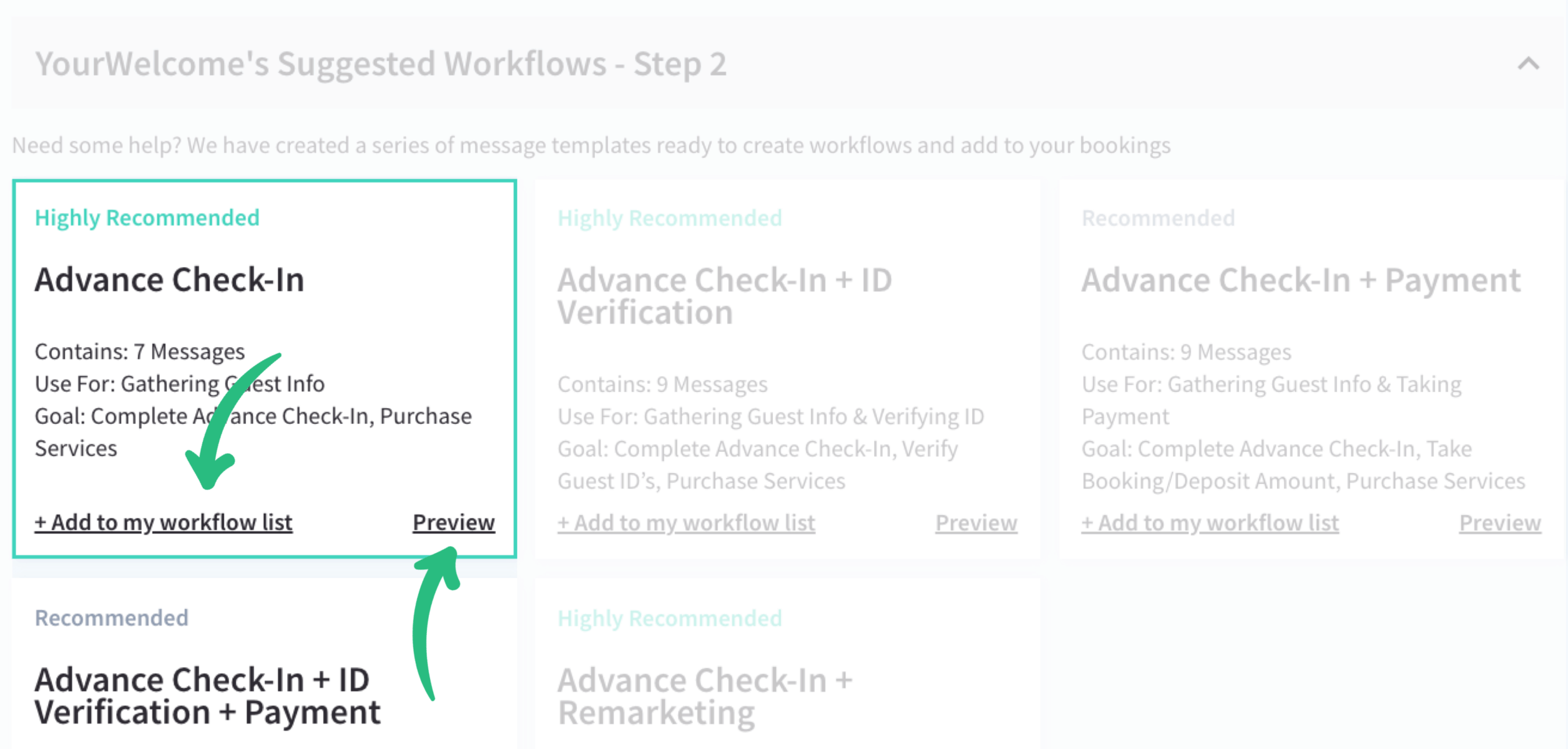 YourWelcome's Suggested Workflows
