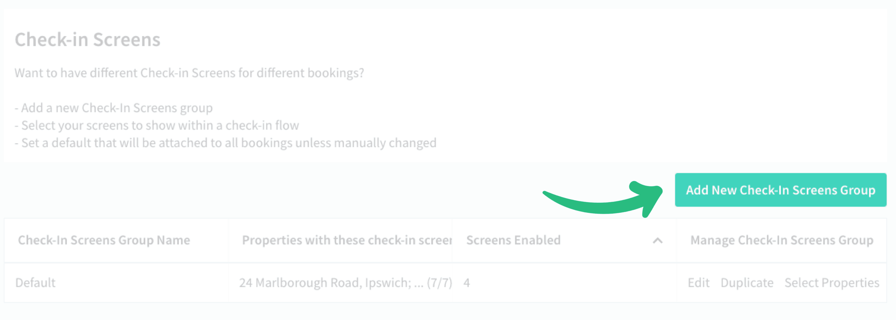 Creating a Check-in Screens group