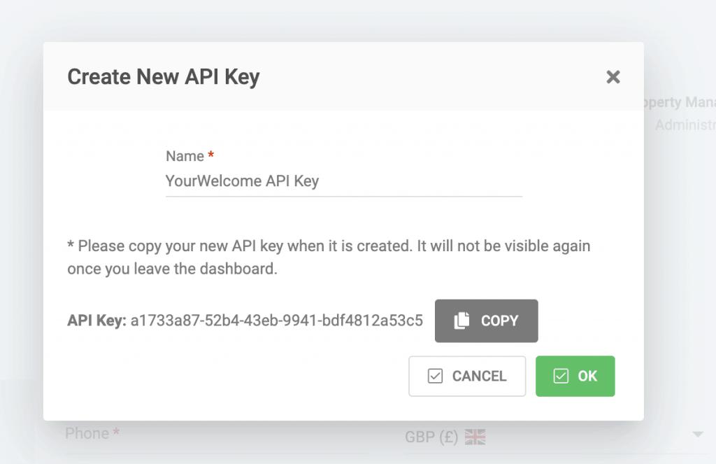 Copying the API Key